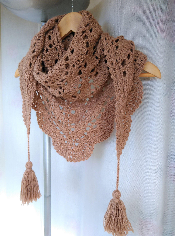 Crochet Baktus Scarf Baktus Scarf Crochet Triangular Etsy