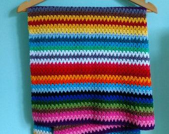 Pure Cotton Baby Blanket- Crochet Baby Blanket- Organic Blanket- Natural Baby Blanket- Striped Newborn Blanket- 100% Cotton- Bright Colours-
