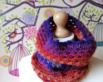 Neck Warmer-Crochet Scarf-Striped Cowl-Crochet Snood-Unisex Scarf-Autumn/Winter Accessory-Cosmic Cowl-Striped Bright Scarf-Winter Snood
