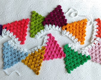 Triangle Garland- Crochet Triangle Bunting- Festive Wall Hanging- Birthday Party Flags- Home Décor- in Happy Vibrant Colours