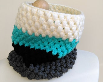 Textured Neck Warmer- Crochet Cowl- Crochet Snood- Winter Scarf- Women's Accessory- Teal Green Black Grey- Striped Scarf- Warm Thick Scarf