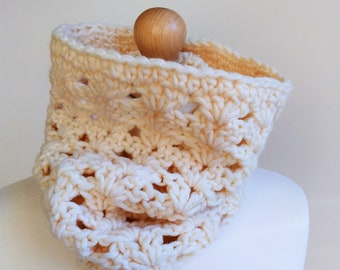 Textured Neck Warmer-Crochet Cowl-Crochet Snood-Winter Scarf-Women/Men Accessory-Textured Scarf-Crochet Thick Scarf-in Cream in Grey Marl