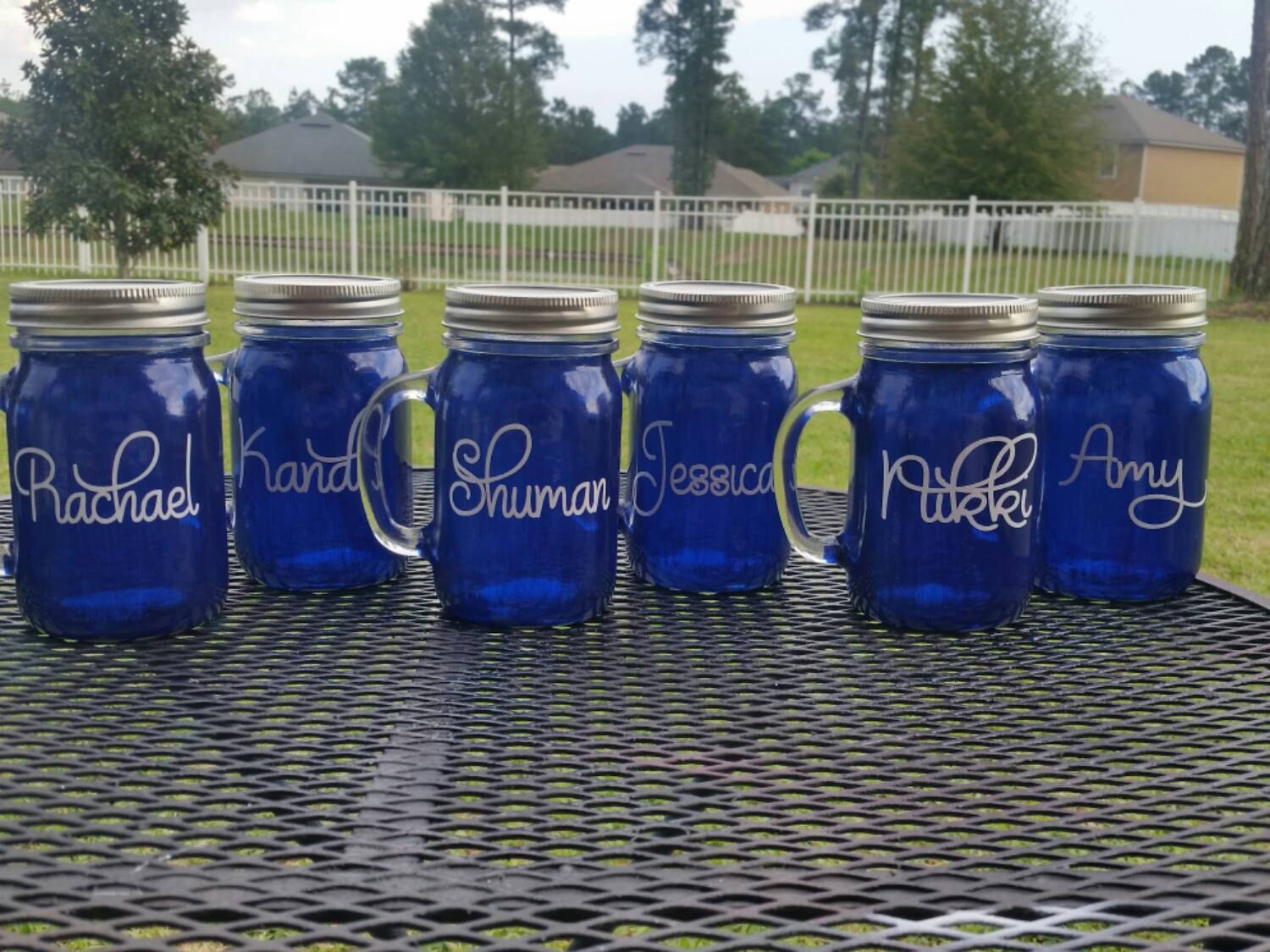 16 Oz Personalized Wedding Mason Jar Glass With Handle Blue Glassware Personalized Gifts Cobalt Blue Glass Mason Jar Glass