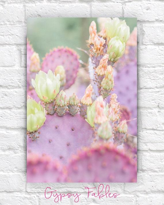 Kaktus print pastellt ne gro e wandkunst kaktus dekor etsy - Pastelltone wand ...