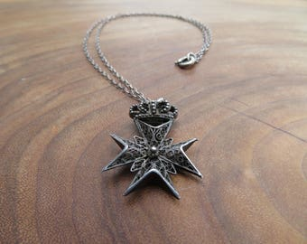Maltese Cross Necklace (with Filigree Detail)