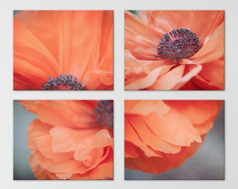 Set of 4 Prints, Orange Poppy Flower Wall Art Set, Orange Floral Wall Decor, Your Choice of Size From 8x10 to 24x30