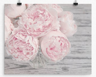 """Pastel Pink Peony Flower Wall Art, Flower Photo Print, Choice of Size From 8x10 to 24x30, Pink and Gray Nursery Art, """"Spring Peace"""""""