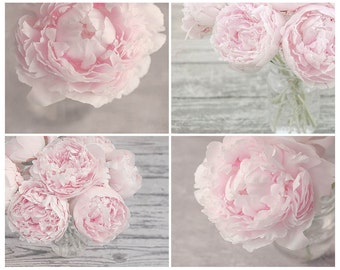 Set of 4 Prints, Pastel Pink Peony Flower Wall Art Set, Pink Nursery Art, Peony Flower Print Set, Your Choice of Size From 8x10 to 24x30