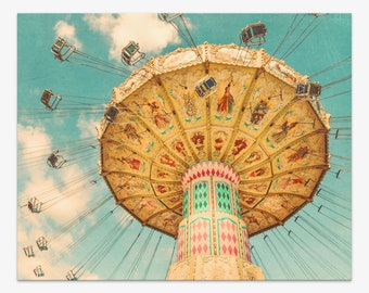 """Carnival Photograph, Children's Room Wall Art, Nursery Decor, Swing Ride, teal turquoise blue gold yellow, 8x10 - 30x40, """"Jovial"""""""