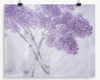 Pastel Purple Lilac Flower Wall Art Print, Flower Photography Print, Your Choice of Size from 8x10 to 24x30, Purple Floral Wall Decor