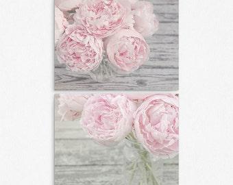 Pastel Pink Peony Flower Wall Art Print Set | Set of 2 Prints | Flower Wall Art Set | Pink and Gray Nursery Wall Decor |