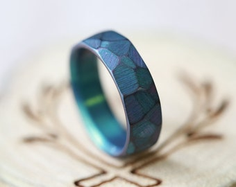 Faceted and Anodized Titanium Wedding Band (available anodized in multiple colors)- Staghead Designs