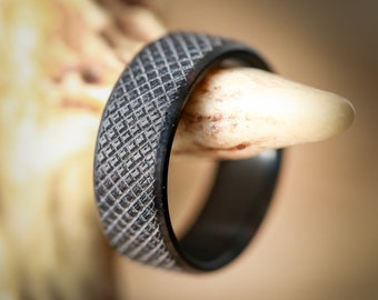 Solid Black Zirconium Band with Knurled Finish (available in 8mm & 10mm) - Staghead Designs