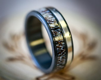 2 Channel Black Zirconium Wedding Band with Antler & Silver Inlay - Staghead Designs
