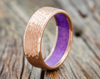 Hammered Gold Wedding Band with Sleepy Lavender Opal Lining - Staghead Designs