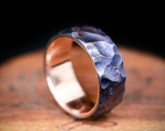 Fire-Treated Titanium with Seascaped Finish and 14K Gold Lining - Staghead Designs