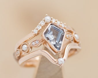 """The """"Bianca"""" Engagement Ring Set With Aquamarine Center Stone, Diamond & Pearl Accents - Staghead Designs"""
