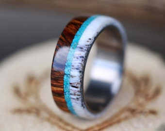 """The """"Banner"""" - Wood Wedding Ring for Men with Antler & Turquoise - Staghead Designs"""