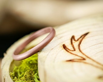 Solid Rose Gold Round Stacking Band With Sandblasted Finish - Staghead Designs