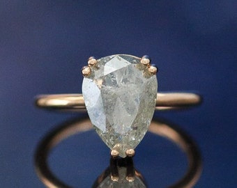 """The """"Andromeda"""" - Pear Shaped & Rose Cut Salt and Pepper Diamond Ring - Staghead Designs"""