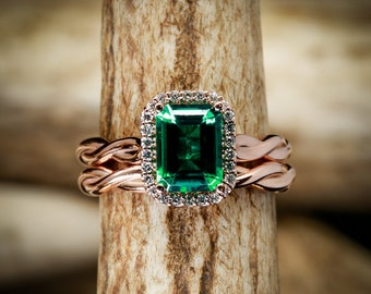 14k Rose Gold Engagement Emerald with Halo on Woven Band and Stacker - Staghead Designs