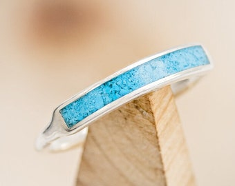 """Women's Wedding Band -""""Ava"""" - Turquoise Inlay Stacking Band - Staghead Designs"""