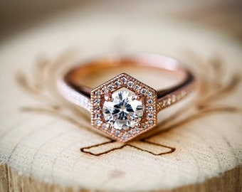 f9b3da564f762b Geometric 1ct Moissanite With Diamond Accents - Woman's Engagement Ring-  Staghead Designs