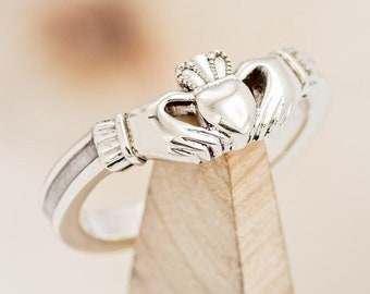Claddagh Style Women's Ring With Antler Inlay - Staghead Designs