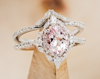 """The """"North Star"""" - Morganite Wedding Ring Set with Contoured Diamond Tracer - Staghead Designs"""