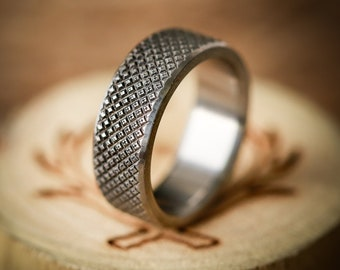Solid Titanium Band with Knurled Finish (available in 8mm & 10mm) - Staghead Designs