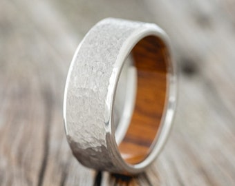 Hammered Titanium Wedding Band with Ironwood Lining - Staghead Designs