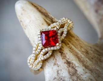 1ct Ruby on a 14K Yellow Gold band with Diamond Accents. - Staghead Designs