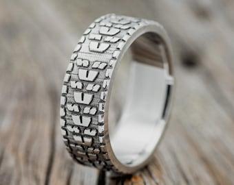 "The ""Parcel""  Custom Embossed Dirt Bike Tire Tread Wedding Band - Staghead Designs"
