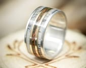 The quot Rio quot - Men 39 s Wedding Ring - 3 Channel Patina Copper, Antler 14K Gold Inlays - Staghead Designs