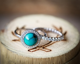 """The """"Terra"""" - 14K White Gold & Turquoise Engagement Ring with Infinity Diamond Stacking Band - Staghead Designs"""
