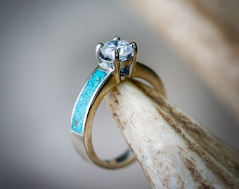 Women's 14K White Gold Wedding Ring - 1ct Moissanite Engagement Ring with Turquoise Inlays - Staghead Designs
