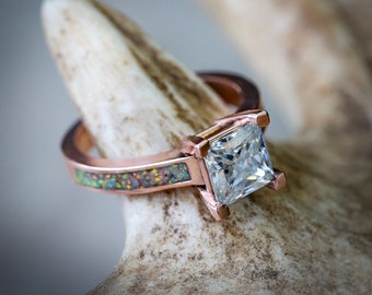 Women's 14K Rose Gold Wedding Ring - 1ct Moissanite Engagement Ring with Blue Opal Inlays - Staghead Designs