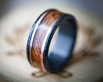 Hammered Black Zirconium Wedding Band with Maple & 14K Rose Gold Inlays - Staghead Designs