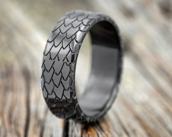 """The """"Echo""""  Custom Embossed Dragon Scales Wedding Band - Staghead Designs"""
