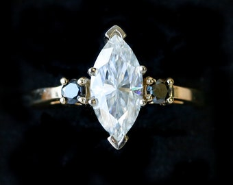 14K Yellow Gold Engagement Ring with 1ct Marquis Cut Moissanite With Offset Black Diamonds - Staghead Designs