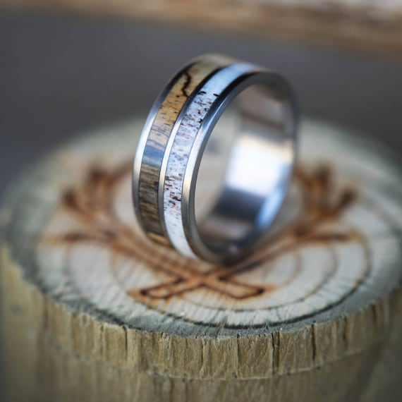 Men S Wedding Band Spalted Maple And Antler Ring In 2 Etsy