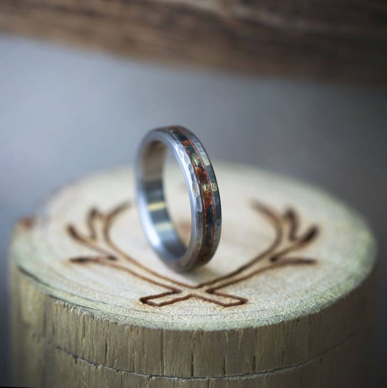 Hammered Titanium /& Patina Copper Stacking Band for Women Staghead Designs 4mm wide
