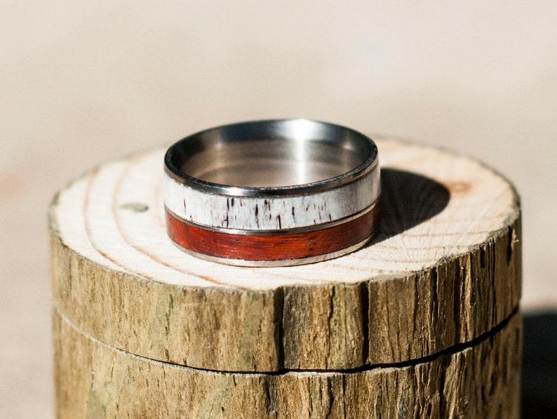 Staghead Designs Men/'s Wedding Band Padauk Wood /& Antler Ring in 2 Channels
