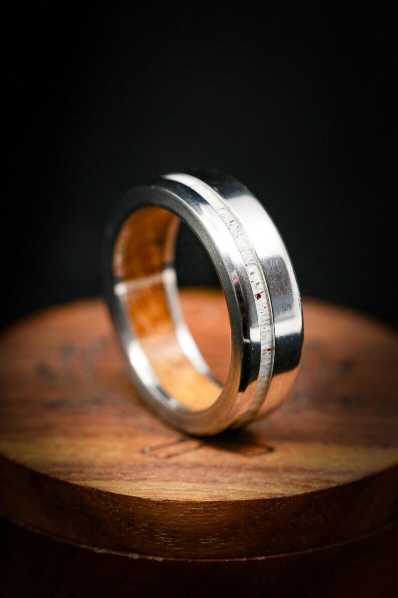 The Vertigo  Whiskey Barrel Ring with Antler image 0