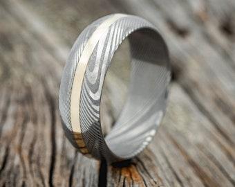 "The ""Vertigo"" - Damascus Steel Wedding Ring with 14K Gold Inlay - Staghead Designs"