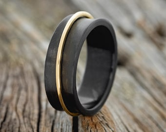 """The """"Rotary"""" - Men's Concave Black Zirconium Wedding Band with Free Spinning 14K Yellow Gold Band - Staghead Designs"""