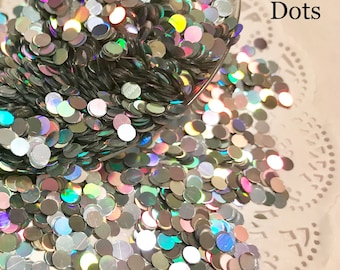 Solvent Resistant Glitter, Holographic 3mm Dots