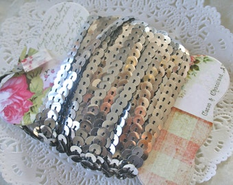 10Y Vintage Metallic Silver Sequined Trim