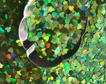 Nail Craft Glitter, GREEN HEARTS