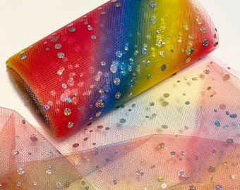 """RAINBOW TULLE, Sparkle Dots, Mesh Ribbon, 6"""" Wide"""